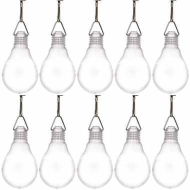 10x buiten verlichting solar lampenbolletjes wit 11,8 cm