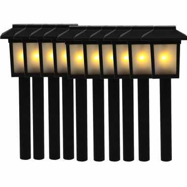 10x tuinlamp fakkel / tuinverlichting met vlam effect 34,5 cm