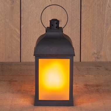 1x zwarte led lantaarns met vlameffect en timer 22 cm