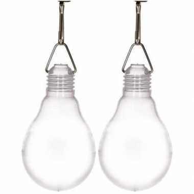 2x buiten verlichting solar lampenbolletjes wit 11,8 cm