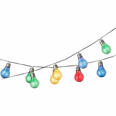 2x stuks gekleurde solar tuinverlichting/feestverlichting lichtsnoeren 4.5 m