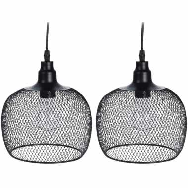 2x stuks led tuinverlichting hanglamp metaal 18 cm zwart