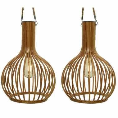 2x stuks solar tuinverlichting hanglamp bamboe 28 cm