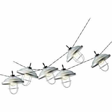 2x stuks solar tuinverlichting lichtsnoeren met lampenkappen lampjes 2,5 meter