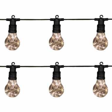 2x stuks tuinverlichting lichtsnoeren met lampjes/bollampjes warm wit 10 meter