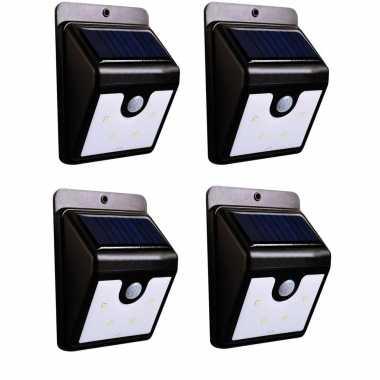 4x stuks solar tuinverlichting / muurlampen led wandlamp spatwaterdicht met bewegingssensor