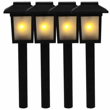 4x tuinlamp fakkel / tuinverlichting met vlam effect 34,5 cm
