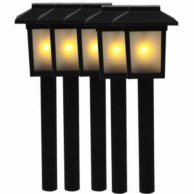 5x tuinlamp fakkel / tuinverlichting met vlam effect 34,5 cm