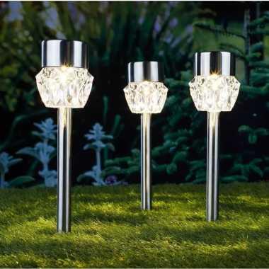 6x buiten/tuin led zilveren stekers crystal solar verlichting 35 cm rvs warm wit