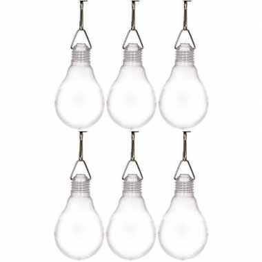6x buiten verlichting solar lampenbolletjes wit 11,8 cm