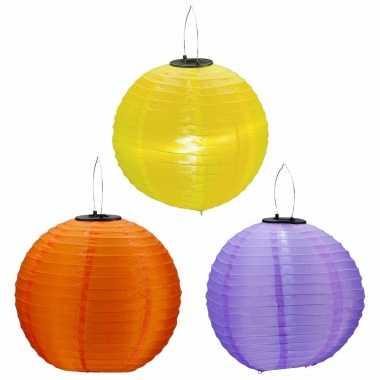 6x stuks gekleurde buiten tuin party solar lampionnen van 30 cm