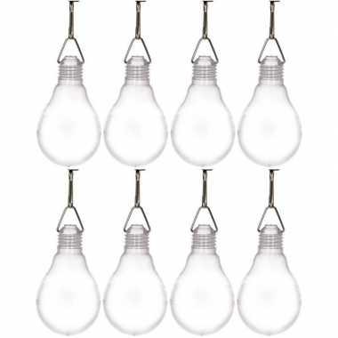 8x buiten verlichting solar lampenbolletjes wit 11,8 cm