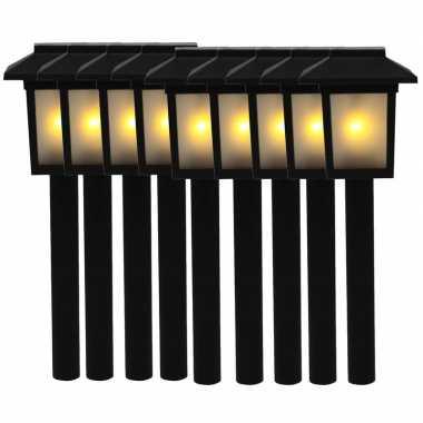 9x tuinlamp fakkel / tuinverlichting met vlam effect 34,5 cm