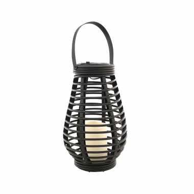 Buiten/tuin zwarte rotan lampionnen/hanglantaarns 26 cm solar tuinverlichting