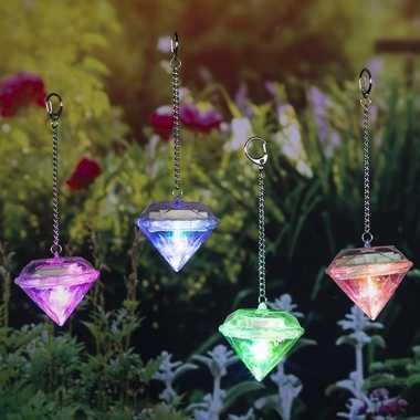 Set van 12x led solar diamanten sfeerlicht tuinverlichting