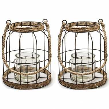 Set van 2x stuks metalen/jute lantaarn kaarsenhouders 20 x 24 cm