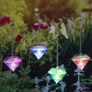 Set van 8x led solar diamanten sfeerlicht tuinverlichting