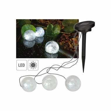 Set van 9 drijvende solar led decoratie bollen vijver/tuinverlichting 9 cm