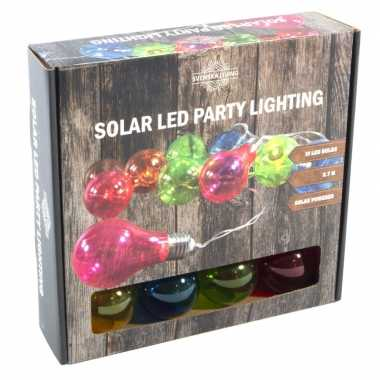Solar feestverlichting/tuinverlichting met 10 neon gekleurde lampjes