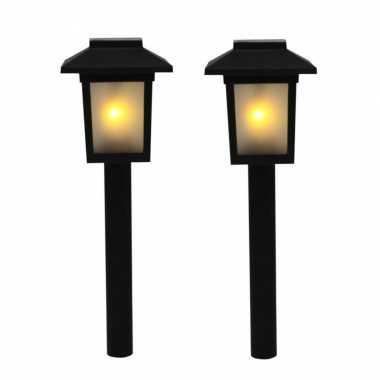 Voordeelset van 12x stuks tuinlamp solar fakkel / tuinverlichting met vlam effect 34,5 cm