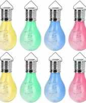 16x solar hang lampenbolletjes gekleurd op zonne energie 15 cm tuinverlichting