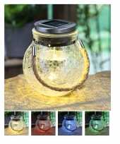 1x solar lampen glazen pot op zonne energie 14 cm tuinverlichting