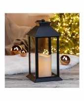 1x zwarte led licht lantaarns met kaars 33 cm