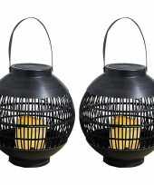 2x buiten tuin zwarte rotan lampionnen hanglantaarns 20 cm solar tuinverlichting