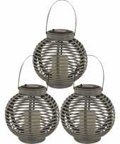 3x buiten tuin grijze rotan lampionnen hanglantaarns 20 cm solar tuinverlichting