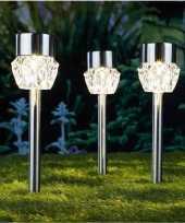 3x buiten tuin led zilveren stekers crystal solar verlichting 35 cm rvs warm wit