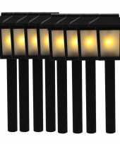 8x tuinlamp fakkel tuinverlichting met vlam effect 34 5 cm