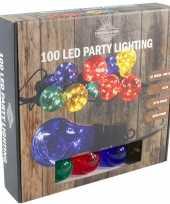 Feestverlichting timer lichtsnoer met 10 gekleurde bolletjes