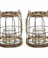 Set van 2x stuks metalen jute lantaarn kaarsenhouders 20 x 24 cm