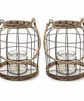 Set van 2x stuks metalen jute lantaarn kaarsenhouders 22 x 27 cm
