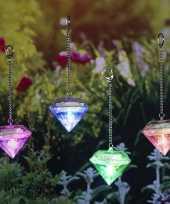 Set van 4x led solar diamanten sfeerlicht tuinverlichting