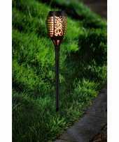 Voordeelset van 20x stuks tuinlamp solar fakkel tuinverlichting met vlam effect 48 5 cm
